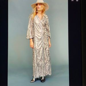 Free people By Ana Sui silver Maxi gown nwt